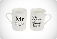 Scatola Confezionata da 2 Tazze Mr Right e Mrs Always Right