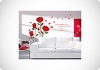 UfingoDecor Rosso Romantico Rosa Fiori Adesivi Murali